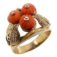 10K Yellow Gold with Coral Beads Victorian Ring