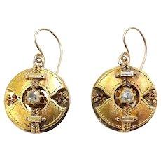 18K Yellow Gold Etruscan Revival Disc Diamond  Earrings