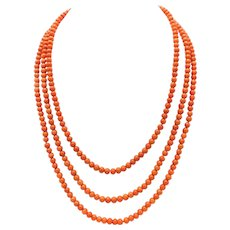 Signature 14K Gold Hook & Victorian Era Coral Bead Necklace