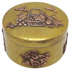 Meiji Era Mixed Metal Brass & Copper Japanese Box