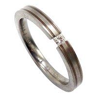Vintage Titanium, Silver and Diamond Ring