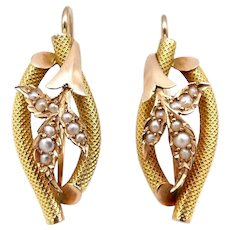 Victorian 14K Gold and Seed Pearl Leaf Shaped Earrings