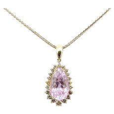 Vintage 14K Gold, Kunzite and Cognac Diamond Necklace