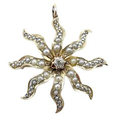 Victorian 14K Gold Star Pendant Brooch with Seed Pearls & Diamond