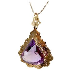 Mid-Century Modernist 14K Gold Amethyst Pendant Necklace