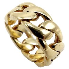 Vintage Heavy 14K Gold Curb Link Ring
