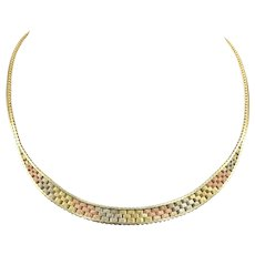 Vintage 14K Gold Italian Woven Tri Color Necklace