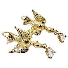 14K Gold Artisan Swallow Earrings with Tear-Drop Diamonds