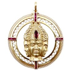 Three Headed Trimurti Hindu Gold Medallion with Rubies