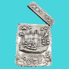American Castle Top Coin Silver Calling Card Case by Leonard & Wilson, circa 1850