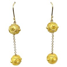 18K Gold Etruscan Revival Double Ball Dangle Earrings