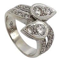 Mid Century 14K Gold Moi et Toi Diamond Ring