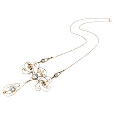 Edwardian Diamond, Pearl, Aquamarine and Sapphire 14 KT Gold Necklace