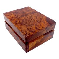 Solid Amboyna Burl Wood Box, circa 1930s