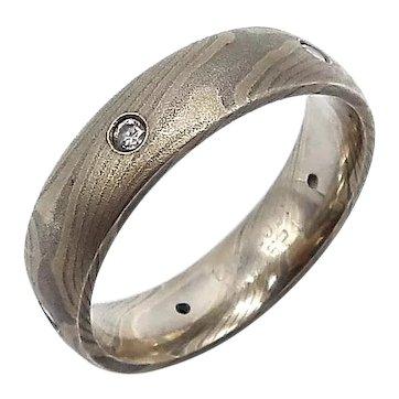 Vintage Mokume-gane Sterling Silver & Palladium Ring