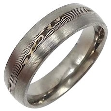 Satin Finished 14k & Cobalt Mokune Gane Titanium Ring