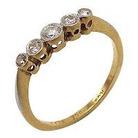 18k Gold Edwardian Era Platinum Five Stone Diamond Ring