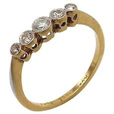 18k Gold Edwardian Era Platinum Five Stone Diamond Ring