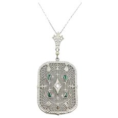 14K Art Deco White Gold Filigree Necklace with Diamond and Emeralds