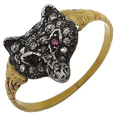 14K Gold Vintage Diamond and Ruby Fox Head Ring
