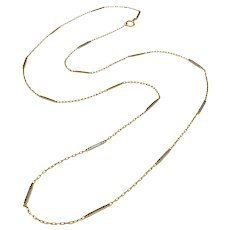 14k Gold Art Deco Long Bar-Link Chain Necklace