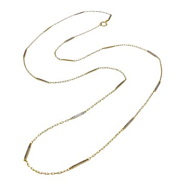 14k Gold Art Deco Long Bar-Link Chain Necklace