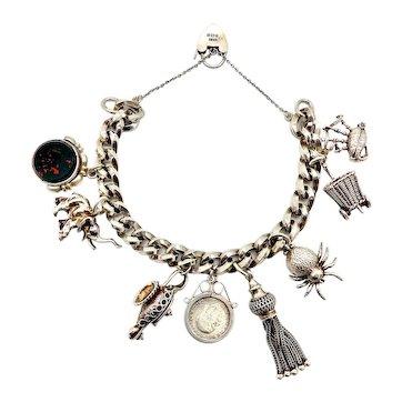 Vintage Sterling Silver Heavy Curb Link Charm Bracelet