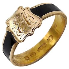 15K Gold Black Enamel Mourning Ring with Shield