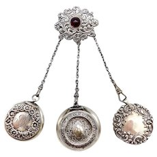 Sterling Silver Dance Chatelaine with Brooch and Three Appendages