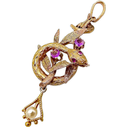 14K Gold Early Victorian Snake Pendant