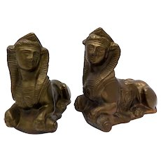 A Victorian Pair of Spelter Female Sphinxes