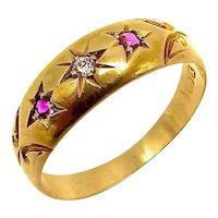 18K Gold Victorian Diamond and Ruby Ring