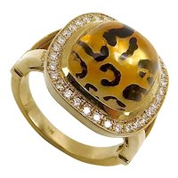 Leopard Spotted Reverse Painted Citrine Cabochon Ring with Diamond Halo in 14K Gold