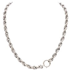 Vintage Silver Alloy Rope Chain Necklace with Large Spring Ring