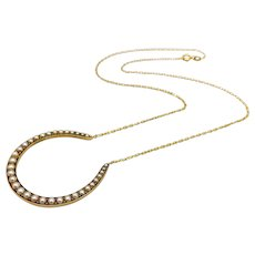 14K Gold Pearl Horseshoe Necklace with Fine Paper Clip Chain