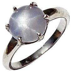 14K White Gold Vintage Blue Star Sapphire Ring