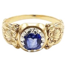 Early Victorian Natural Sapphire Sterling Silver & 14K Gold Ring