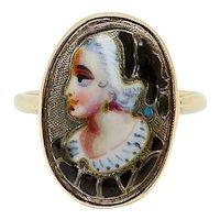 9K Gold Early Victorian English Enamel Portrait Ring
