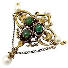 14K Gold Renaissance Revival Emerald Cabochon and Pearl Brooch-Pendant