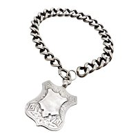 Sterling Silver Albert Chain Bracelet with Shield Fob