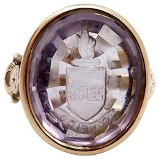 Victorian Amethyst Intaglio 14K Gold Signet Ring