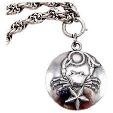 Margot de Taxco Zodiac Sterling Silver Cancer Pendant Medallion