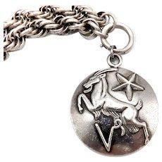 Margot de Taxco Zodiac Sterling Silver Capricorn Pendant Medallion