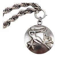 Margot De Taxco Zodiac Sterling Silver Virgo Pendant Medallion