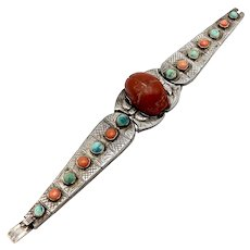 Egyptian Revival Turquoise & Coral, Scarab Silver Bracelet