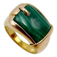 14K Gold Malachite Buckle Ring