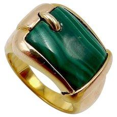 14K Gold Malachite Buckle Ring