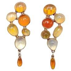14K Gold Vintage Opal Earrings