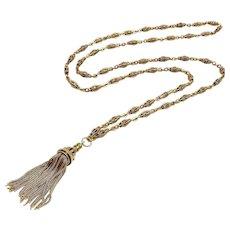14K Gold Victorian Fancy Link Long Chain with Tassel