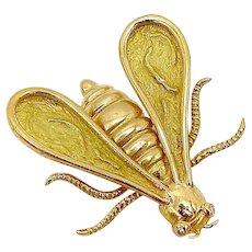 18K Gold & Diamond Chaumet Bee Brooch or Pendant